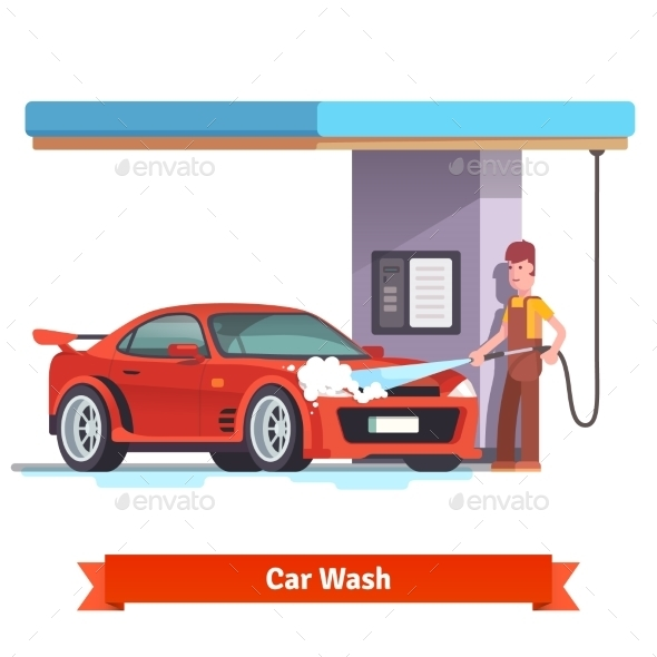 Car Wash Specialist Washing Red Sports Car - Conceptual Vectors