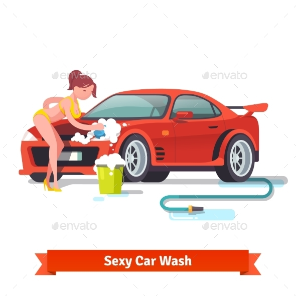 Woman In Swimsuit Washing Red Sports Car - People Characters