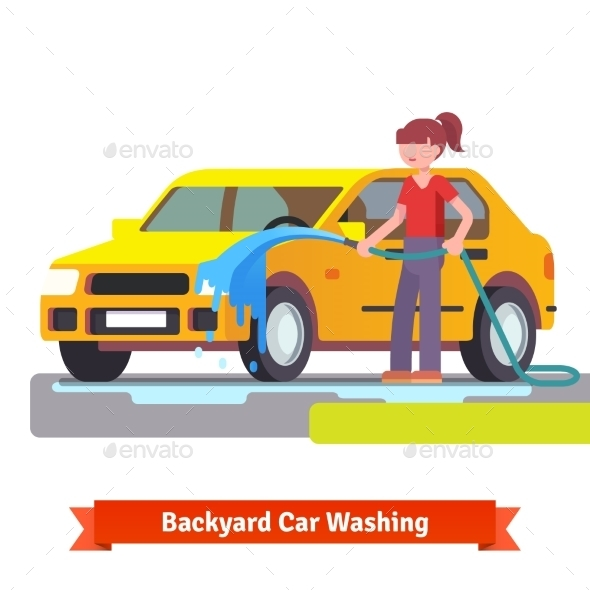 Woman Washing Her Family Car With Spraying Hose - Conceptual Vectors