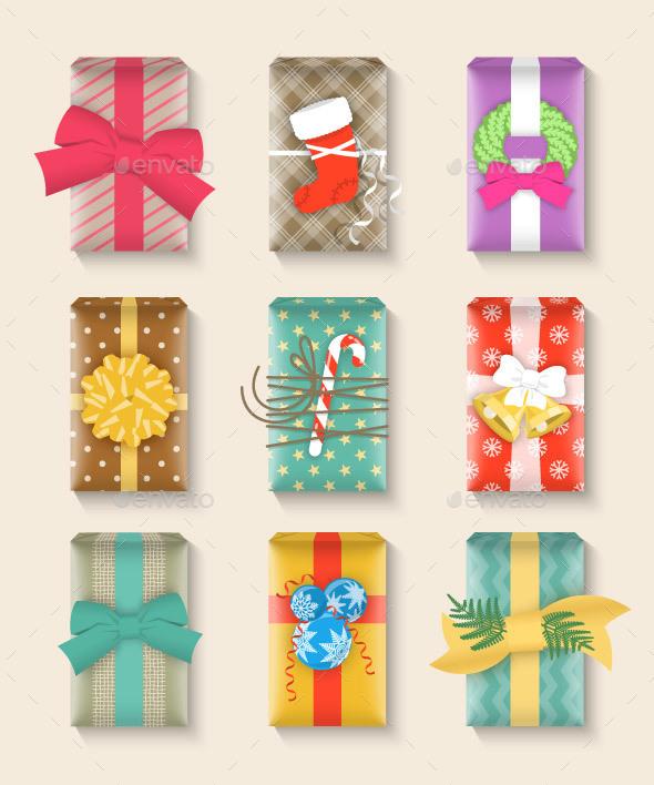 Christmas Gift Boxes Bright Colorful Set - Christmas Seasons/Holidays