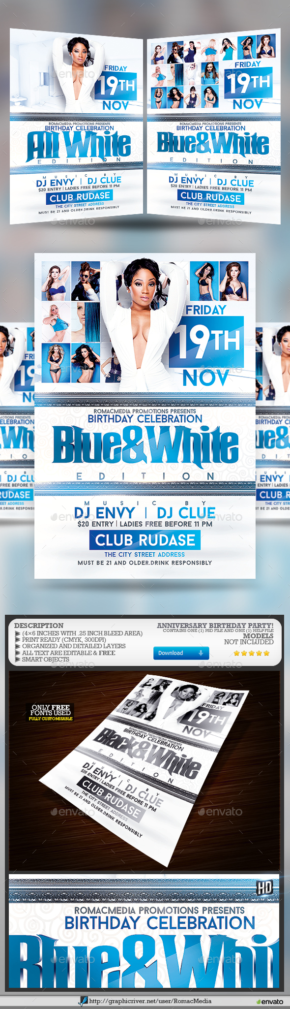 Blue and White Anniversary Birthday Party - Clubs & Parties Events