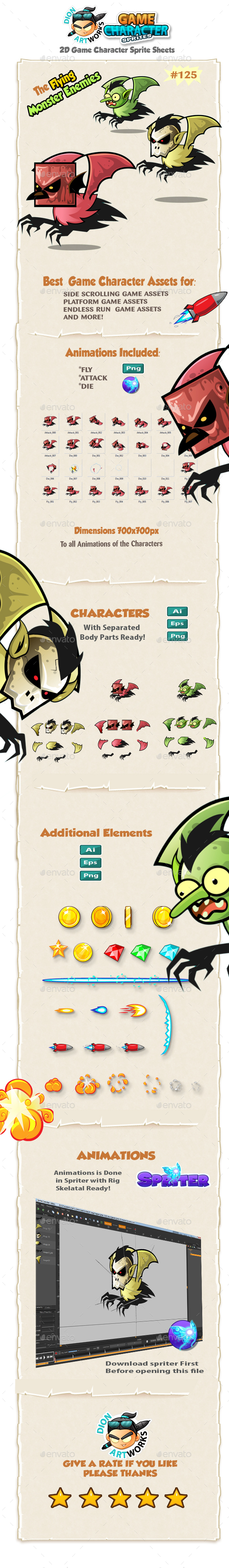 Flying Monster Enemies 2D Game Character Sprites 1 - Sprites Game Assets