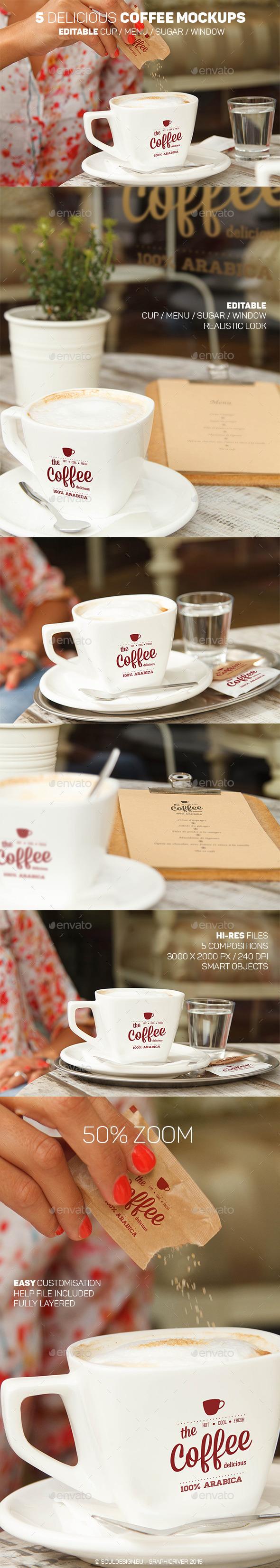 5 Delicious Coffee Mockups - Logo Product Mock-Ups