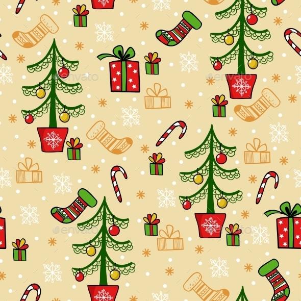 Seamless Greeting Christmas Card - Christmas Seasons/Holidays