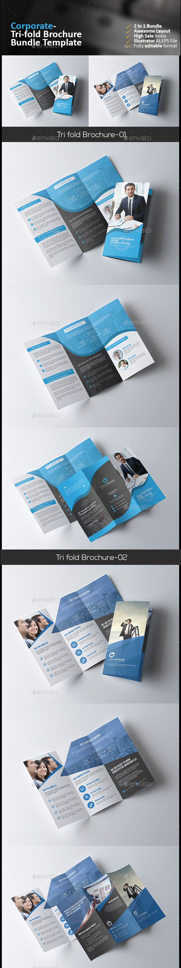 Tri Fold Brochure Bundle 2 in 1 - Corporate Brochures
