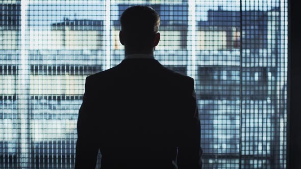 businessman silhouette looks out of a big window by gorodenkoffs