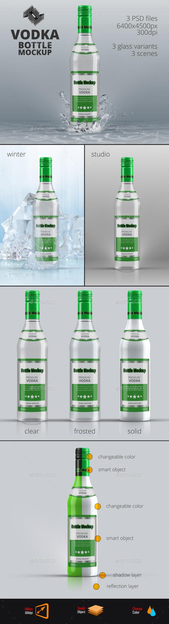 Vodka Bottle Mockup Vol.6 - Food and Drink Packaging