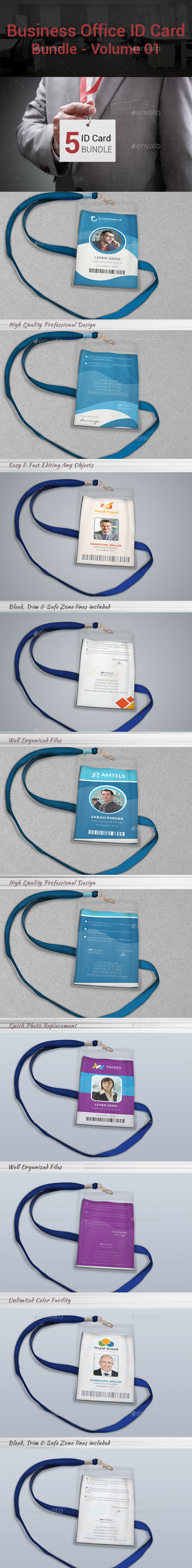 Business Office ID Card Bundle | Volume 01 - Miscellaneous Print Templates