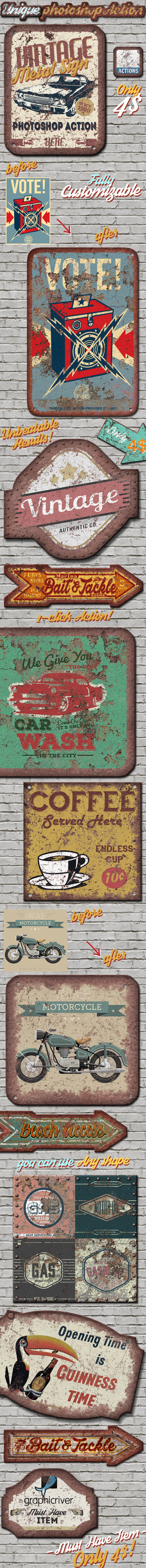Vintage Metal Sign Photoshop Action - Utilities Actions