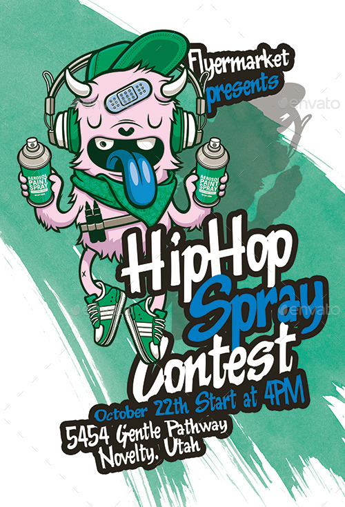Hip Hop Spray Contest Flyer Template By Flyermarket Graphicriver