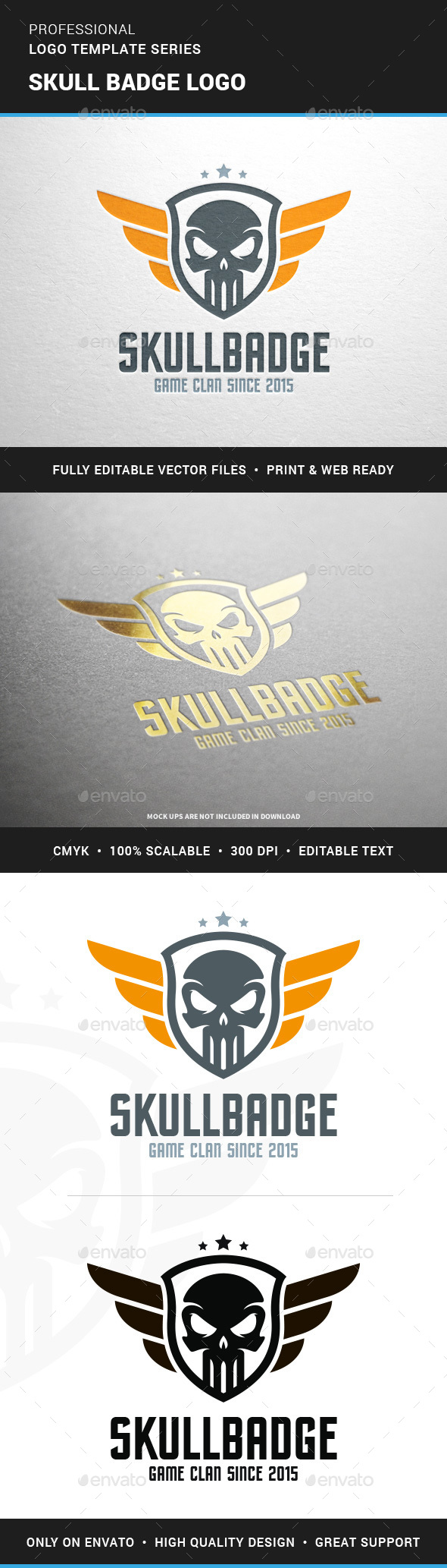 Skull Badge Logo Template - Crests Logo Templates