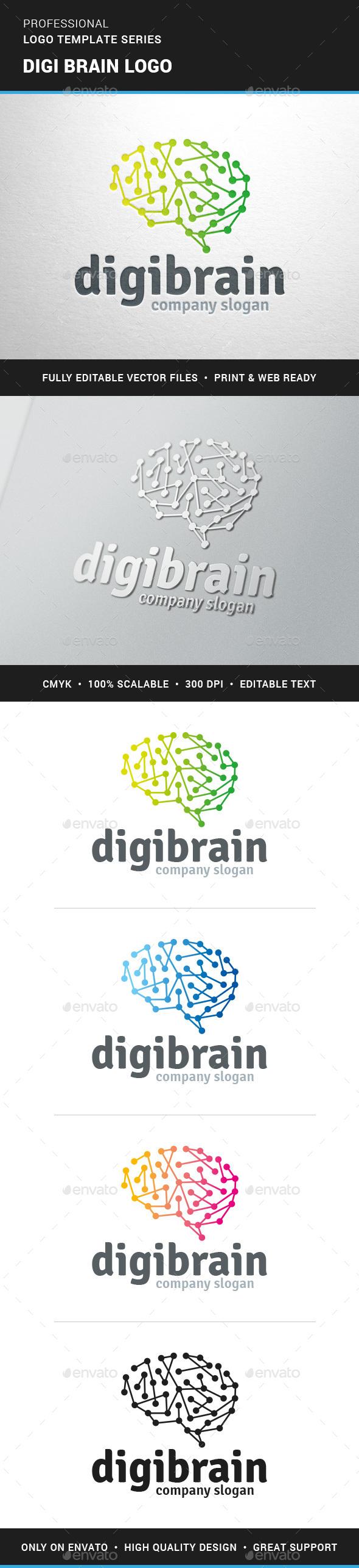 Digi Brain Logo Template - Abstract Logo Templates