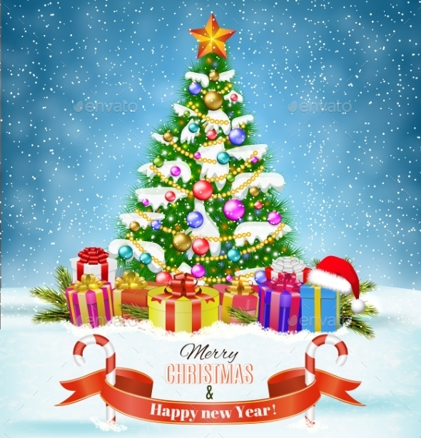 Winter Background with Presents - Christmas Seasons/Holidays