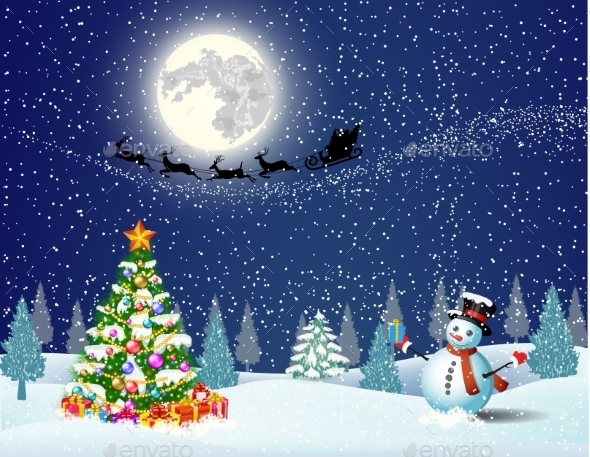 Snowman on Background of Night Sky  - Christmas Seasons/Holidays