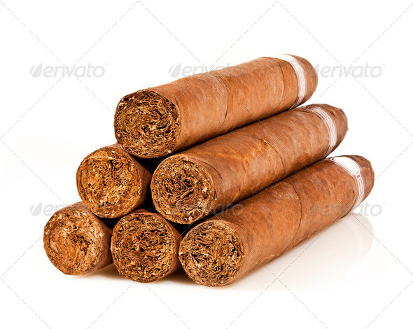 cigars on a white - Stock Photo - Images