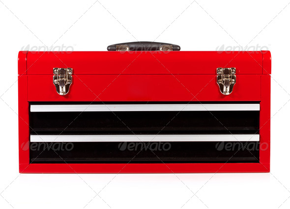 red metal toolbox - Stock Photo - Images