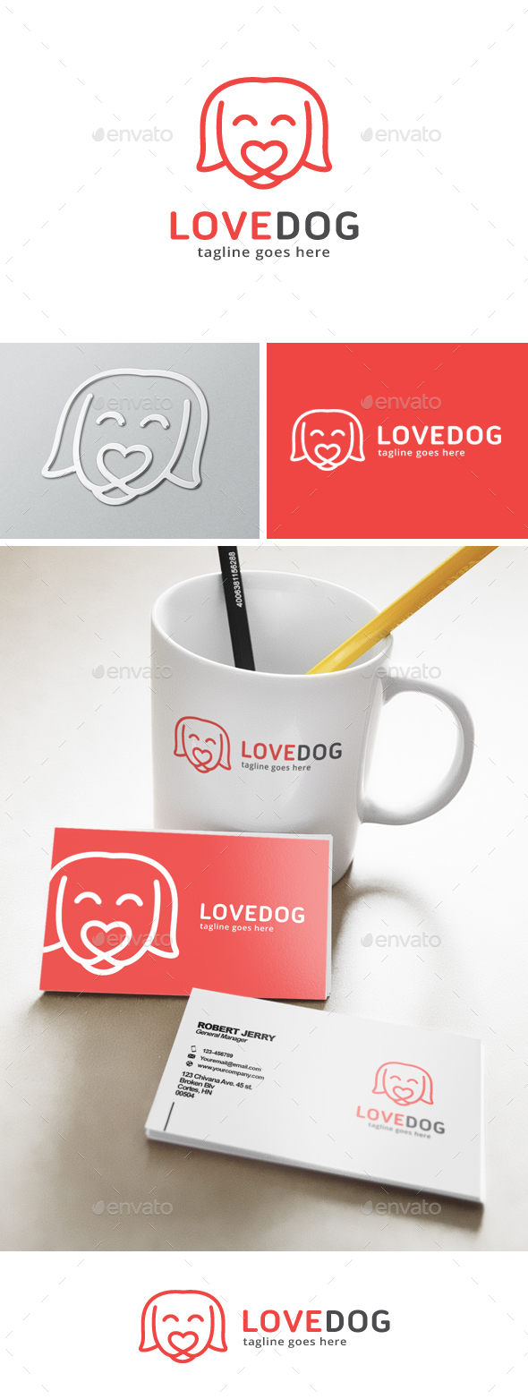 Love Dog Logo - Animals Logo Templates