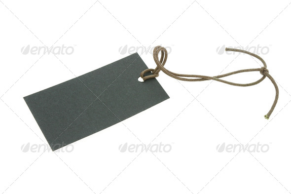 Blank black tag with string - Stock Photo - Images
