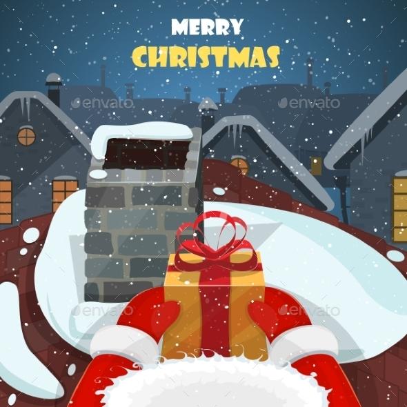 Merry Christmas Postcard Illustration - Christmas Seasons/Holidays