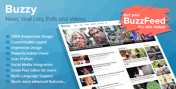 Buzzy - News, Viral Lists, Polls and Videos - CodeCanyon Item for Sale