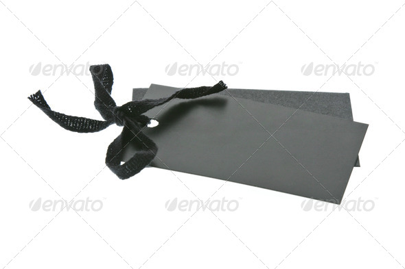Black tags on white background - Stock Photo - Images