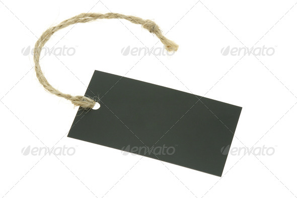 Blank paper label with raffia string - Stock Photo - Images