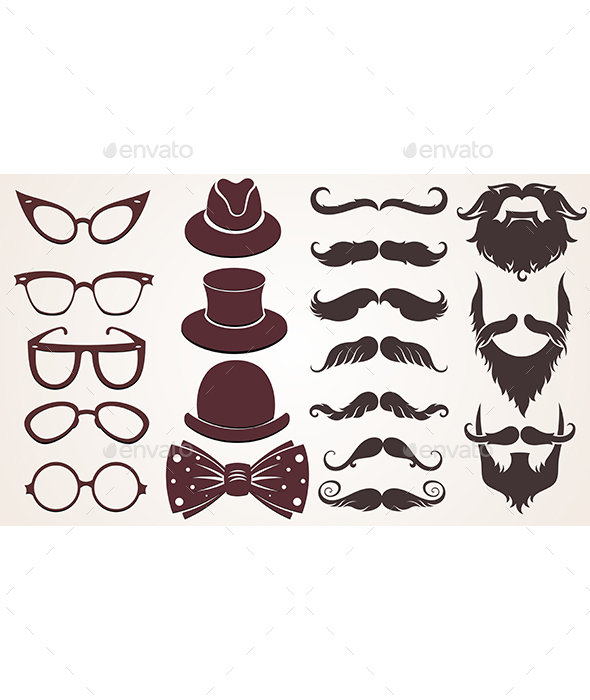 Collection of Hat, Glasses and Mustache - Decorative Symbols Decorative