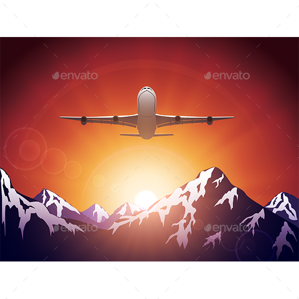 Plane Over the Mountains - Travel Conceptual
