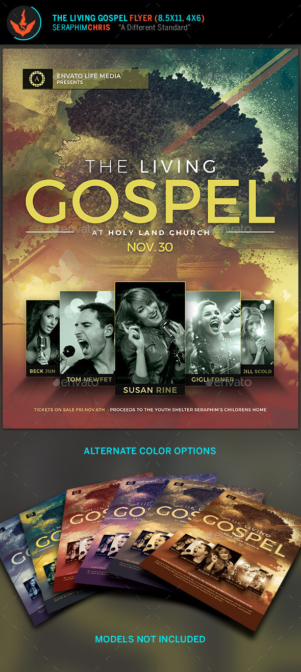 The Living Gospel: Church Concert Flyer Template - Church Flyers