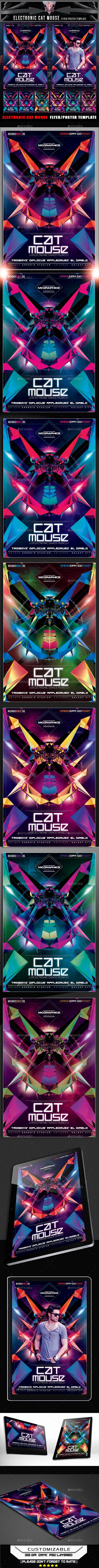 Electronic Cat Mouse Concept Flyer Template - Clubs & Parties Events