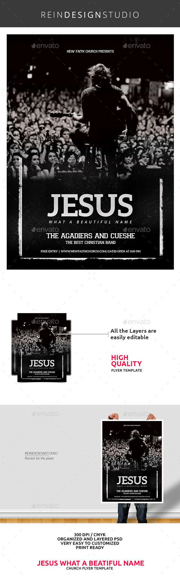 Jesus Name Worship Church Flyer - Church Flyers