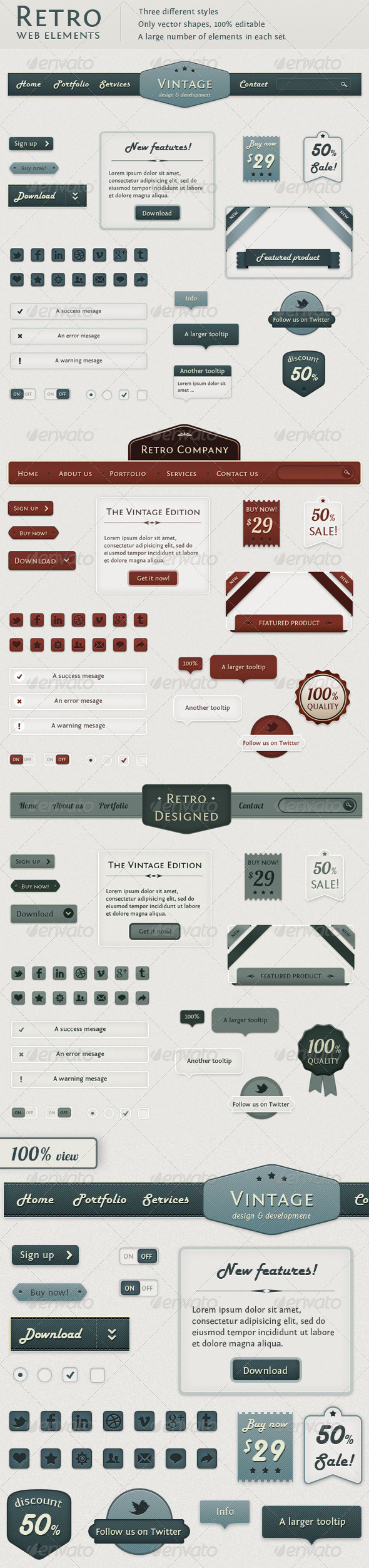 Retro Web Elements - Vintage Touch - Miscellaneous Web Elements