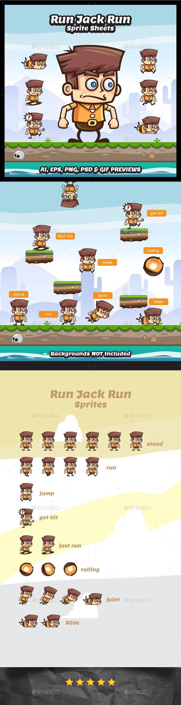 Run Jack Run Sprite Sheets - Sprites Game Assets