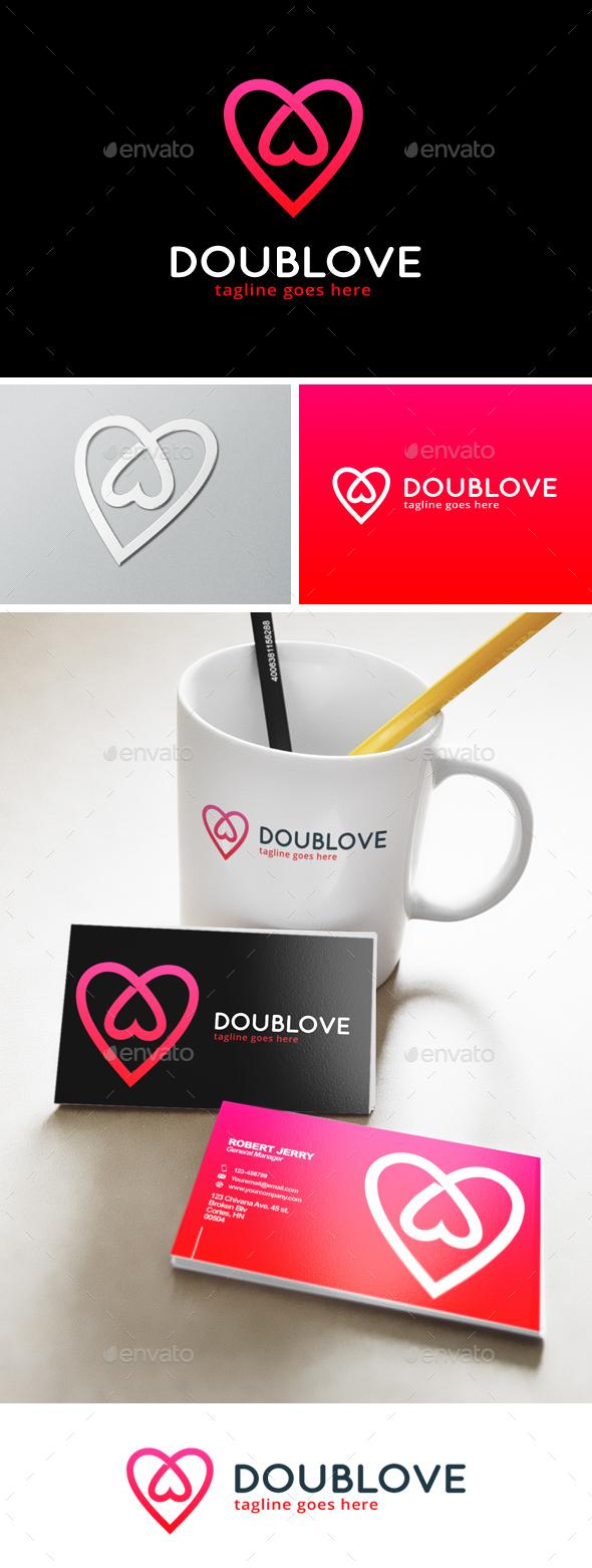Double Love Logo - Symbols Logo Templates