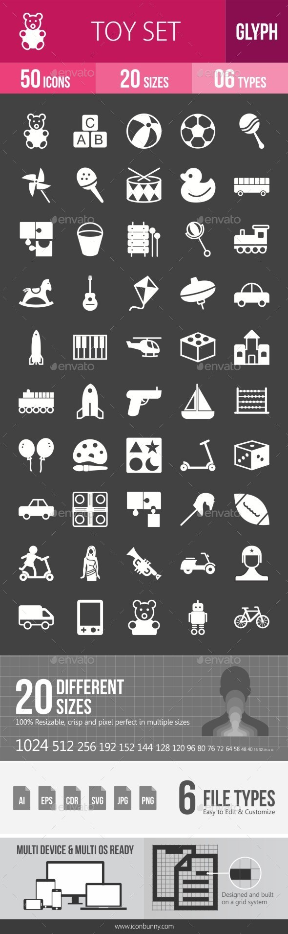 Toys Glyph Inverted Icons - Icons