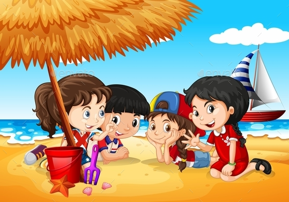 Children Having Fun on the Beach - People Characters