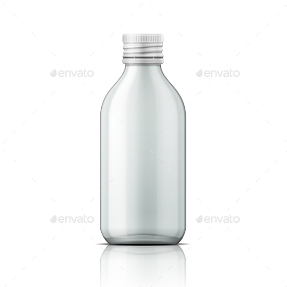 Glass Medical Bottle With Screw Cap. - Man-made Objects Objects