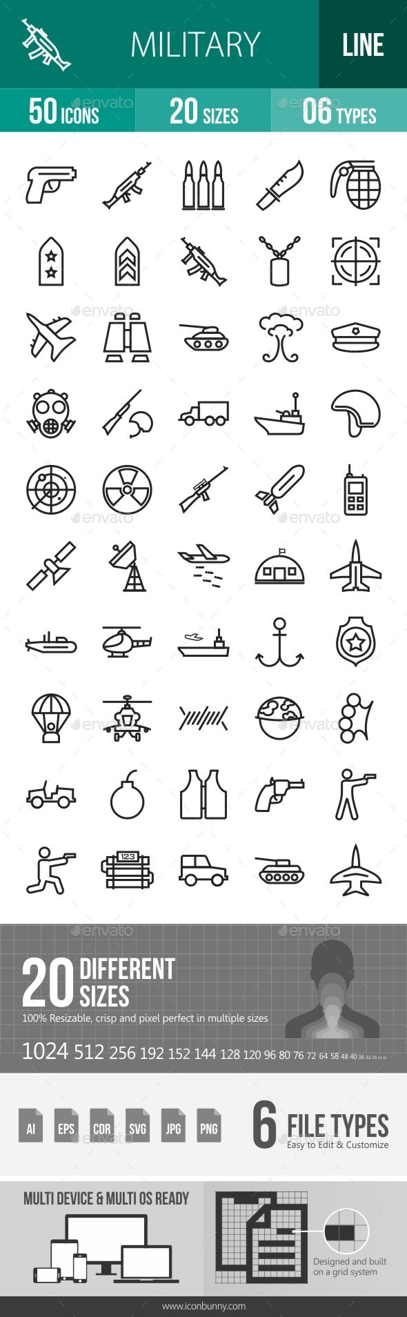 Military Line Icons - Icons