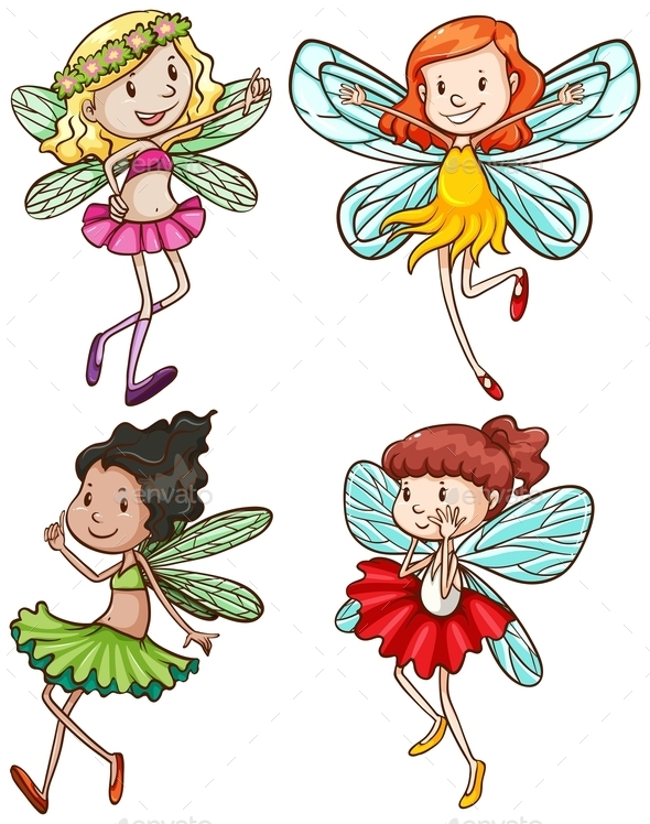 Simple Sketches of Fairies - People Characters