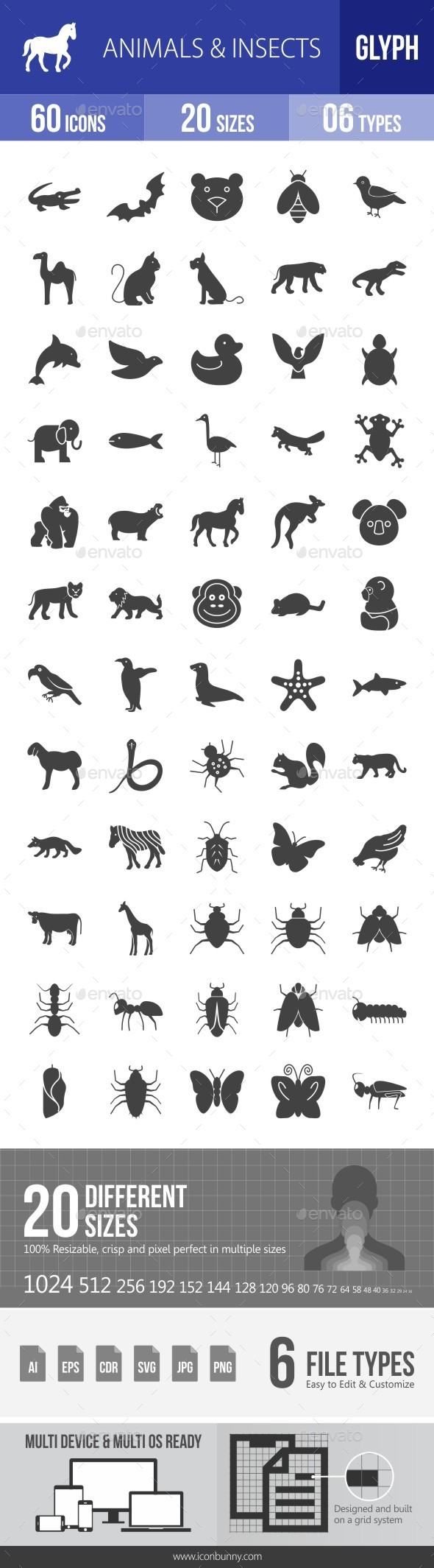 Animals & Insects Glyph Icons - Icons