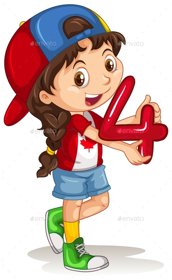 Canadian Girl Holding Number Four - People Characters