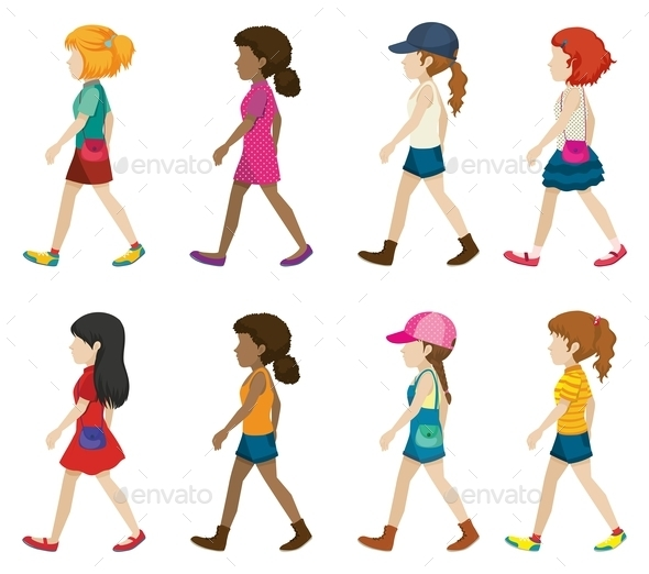 Faceless Young Girls Walking - People Characters