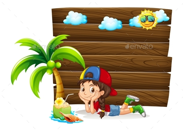 Little Girl and Wooden Board - People Characters
