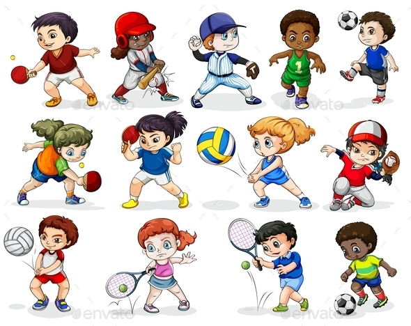 Kids Engaging in Different Sports Activities - People Characters