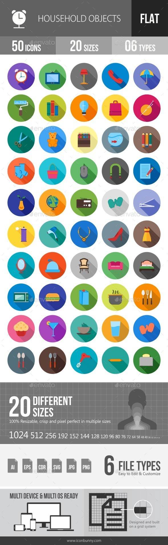 Household Objects Flat Shadowed Icons - Icons