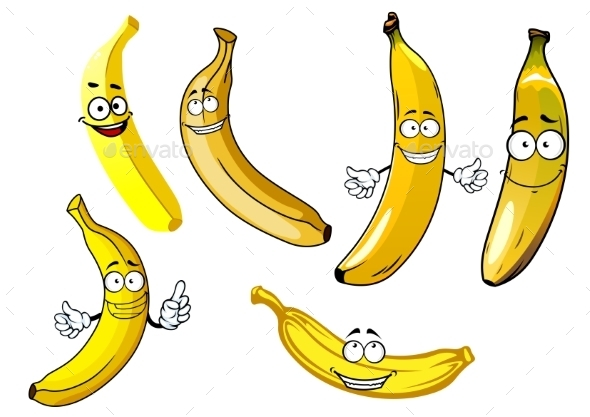 Funny Cartoon Yellow Banana Fruits - Food Objects