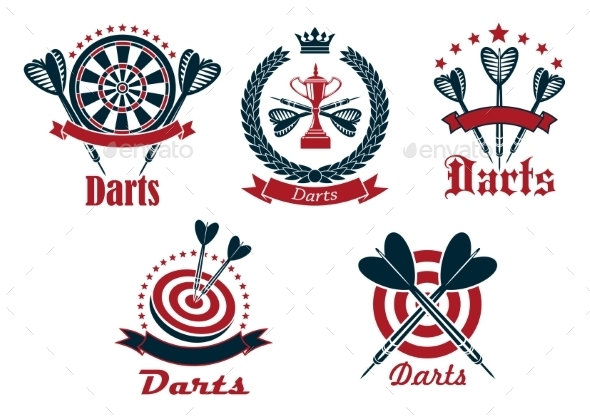 Dart Game Tournament Icons And Symbols - Sports/Activity Conceptual
