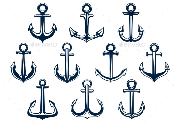 Heraldic Set Of Marine Ships Anchors - Objects Vectors