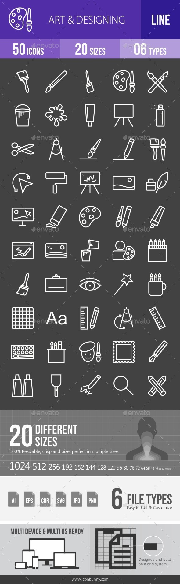 Art & Designing Line Inverted Icons - Icons