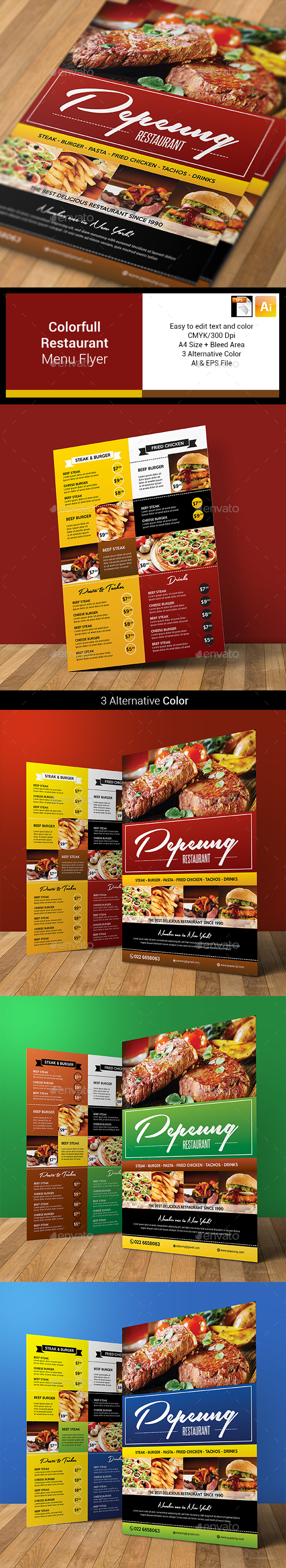 Colorfull Restaurant Menu Flyer - Food Menus Print Templates